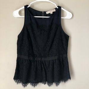 LOFT Lace peplum short sleeve top size 4P